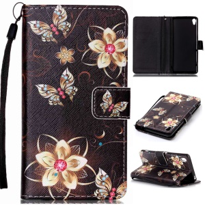 Patterned Leather Wallet Mobile Cover for Sony Xperia XA / XA Dual - Gold Flowers and Butterflies