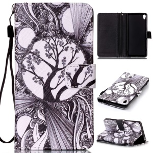 Patterned Leather Wallet Mobilephone Case for Sony Xperia XA / XA Dual - Retro Black Tree Pattern