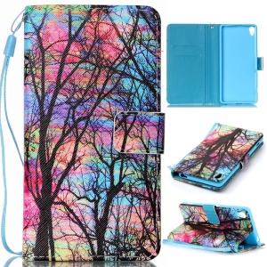 For Sony Xperia XA / XA Dual Patterned Wallet Leather Stand Case with Lanyard - Trees