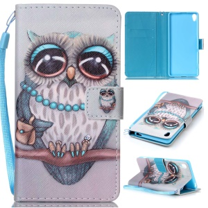 Pattern Printing Leather Wallet Cover with Lanyard for Sony Xperia XA / XA Dual - Cute Owl