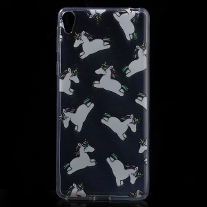Pattern Printing Ultra-thin Clear TPU Cover for Sony Xperia E5 - Horses