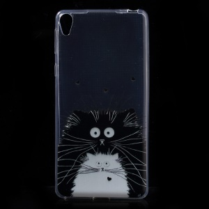 Pattern Printing Ultra-thin Clear TPU Shell for Sony Xperia E5 - Black and White Cat Illustration