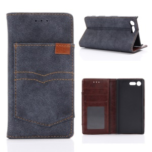 Matte Retro Pocket Design Leather Wallet Phone Case for Sony Xperia X Compact - Dark Blue