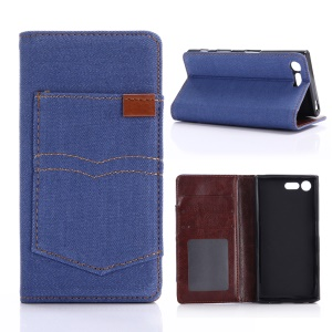 Jeans Cloth Auto-absorbed Stand Wallet Leather Case for Sony Xperia X Compact - Light Blue