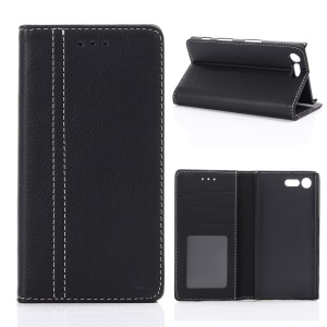For Sony Xperia X Compact Retro Style Wallet Leather Stand Case - Black