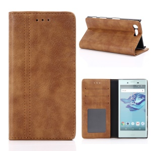 For Sony Xperia X Compact Retro Style Stand Wallet Leather Shell - Brown