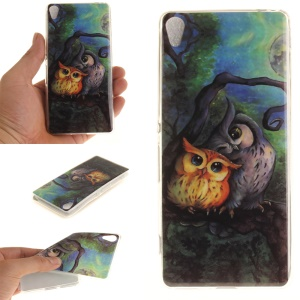 IMD TPU Protection Case for Sony Xperia XA/XA Dual - Two Owls on Branch Painting