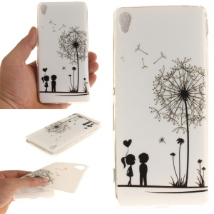 Patterned Gel Cover IMD TPU Case for Sony Xperia XA/XA Dual - Lovers and Dandelion