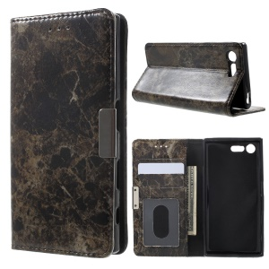 Marble Texture Leather Wallet Phone Case for Sony Xperia X Compact - Black