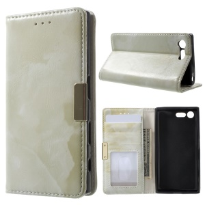 Marble Grain Leather Wallet Phone Shell for Sony Xperia X Compact - Green