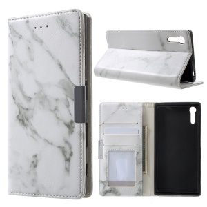 Marble Texture Leather Wallet Phone Case for Sony Xperia XZs / XZ - Grey