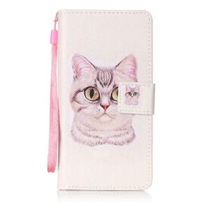 Patterned Leather Wallet Case Accessory for Sony Xperia XA/XA Dual with Strap - Big Eyes Cat