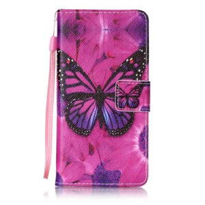 Patterned Leather Stand Shell for Sony Xperia XA/XA Dual with Strap - Butterfly and Flower
