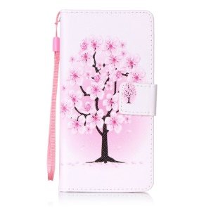 Patterned Leather Stand Cover for Sony Xperia XA/XA Dual with Strap - Pretty Plum Flower