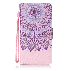 Patterned Leather Wallet Mobile Case for Sony Xperia XA/XA Dual with Strap - Bohemian Pattern