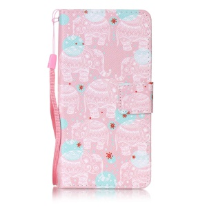 Pattern Printing Leather Case with Hand Strap for Sony Xperia X Performance - Tribal Elephants