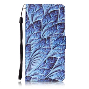 Patterned Wallet Leather Cover with Hand Strap for Sony Xperia X Performance - Feathers
