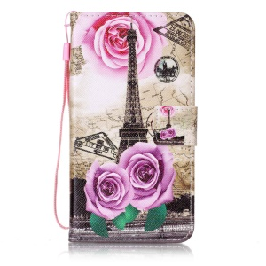 Wallet Leather Stand Cover for Sony Xperia XZ - Flowers and Eiffel Tower