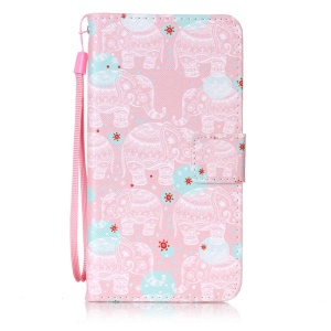Wallet Leather Phone Case for Sony Xperia XZ - Elephant Pattern