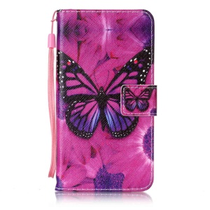 Wallet Leather Cover with Stand for Sony Xperia XZ - Butterfly Pattern