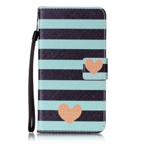 Magnetic Leather Stand Case for Sony Xperia XZ - Stripes and Hearts