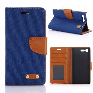 Oxford Cloth Leather Wallet Phone Case for Sony Xperia X Compact - Baby Blue
