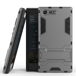 Cool Guard Kickstand Plastic + TPU Mobile Cover for Sony Xperia X Compact - Grey