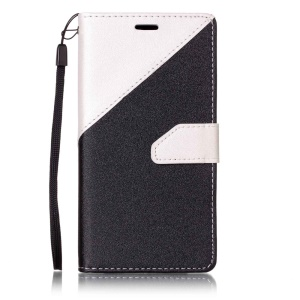 Contrast Color Splicing Leather Case with Lanyard for Sony Xperia X Performance - White