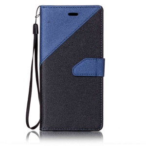 Splicing Two-color Magnetic Leather Wallet Case for Sony Xperia XZs / XZ - Dark Blue