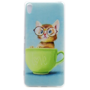 Pattern Printing TPU Back Case for Sony Xperia XA / XA dual - Love Cute Cat