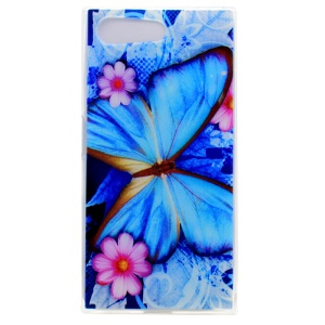 Pattern Printing TPU Cover for Sony Xperia X Compact - Blue Butterfly
