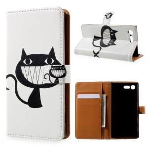 Printing Pattern Leather Wallet Case for Sony Xperia X Compact - Big Mouth Cat