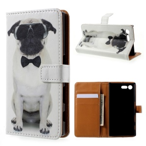 Printing Pattern Leather Wallet Case for Sony Xperia X Compact - Cool Dog in Glasses