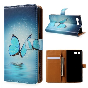 Printing Pattern Leather Wallet Case for Sony Xperia X Compact - Blue Butterfly