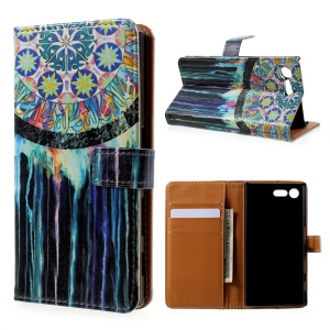 Printing Pattern Leather Wallet Case for Sony Xperia X Compact - Tribal Dreamcatcher