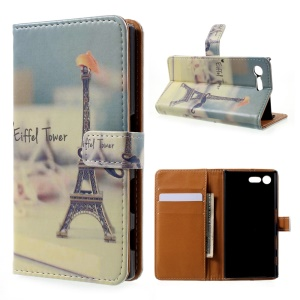 Printing Pattern Leather Wallet Case for Sony Xperia X Compact - Eiffel Tower