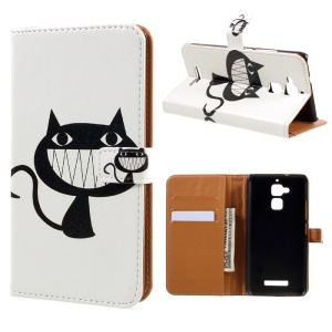 Magnetic Leather Stand Case for Asus Zenfone 3 Max ZC520TL - Black Cat