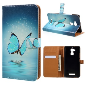 Leather Stand Case with Card Slots for Asus Zenfone 3 Max ZC520TL - Blue Butterfly