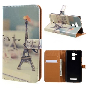Wallet Leather Protective Case for Asus Zenfone 3 Max ZC520TL - Eiffel Tower