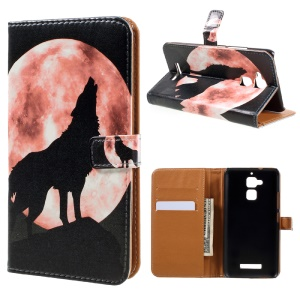 Leather Wallet Case for Asus Zenfone 3 Max ZC520TL - Wolf Pattern