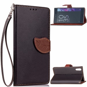 For Sony Xperia XZs / XZ Leaf Shape Magnetic Wallet Leather Case with Stand - Black