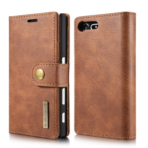 DG.MING 2 in 1 Wallet Split Leather + Movable PC Phone Case for Sony Xperia X Compact - Brown