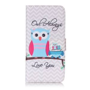 Patterned Wallet Leather Phone Case for Sony Xperia XA/XA Dual - Owl Always Love You