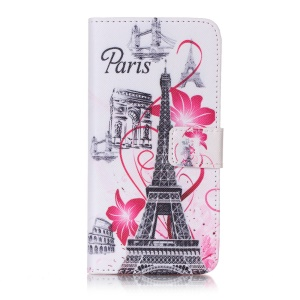 Patterned Leather Wallet Mobile Cover for Sony Xperia XA/XA Dual - Paris Tourist Spots