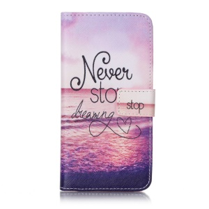 Pattern Printing Leather Flip Cover for Sony Xperia XA/XA Dual - Never Stop Dreaming