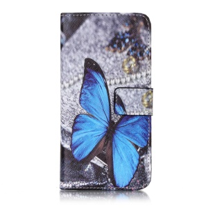 Patterned Leather Case Stand Card Holder for Sony Xperia XA/XA Dual - Blue Butterfly