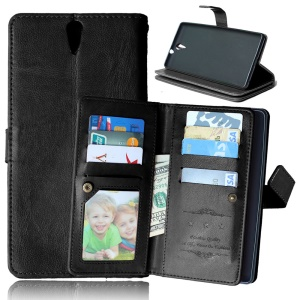 9 Card Slots Crazy Horse Leather Mobile Case for Sony Xperia C5 Ultra / Dual - Black