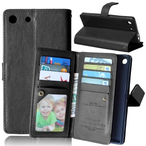 Crazy Horse Leather 9 Card Slots Wallet Stand Case for Sony Xperia M5 / M5 Dual - Black