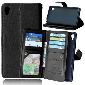 For Sony Xperia Z5 Crazy Horse 9 Card Slots Wallet Leather Stand Case - Black