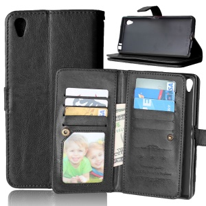 9 Card Slots Wallet Crazy Horse Leather Case for Sony Xperia Z5 Premium / Premium dual - Black